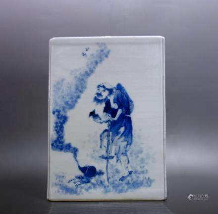 A BLUE AND WHITE SQUARE BRUSH POT, WANG BU