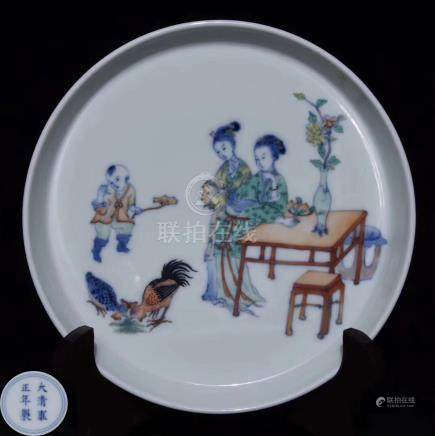A DOUCAI AND BLUE COLOR PLATE WITH MARK