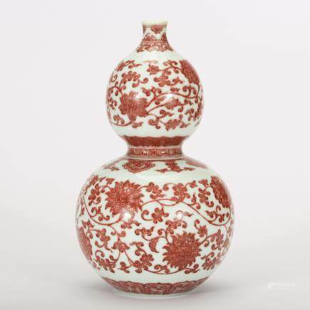 CHINESE IRON RED FOLIAGE GOURD VASE