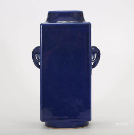 CHINESE BLUE GLAZED ELEPHANT EAR CONG VASE