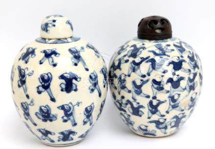 Two similar Chinese porcelain 'One Hundred Boys' pattern miniature ginger jars and covers,