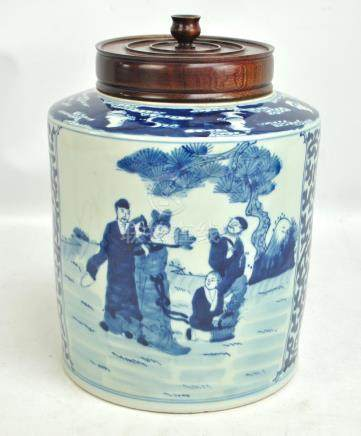 A late 19th century Chinese porcelain ginger jar of cylindrical form painted in underglaze blue