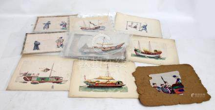 A group of Chinese paintings on rice paper depicting junk, officials, scenes of punishment,