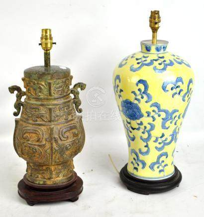 A modern Chinese archaic style cast metal vase lamp base, height 36.