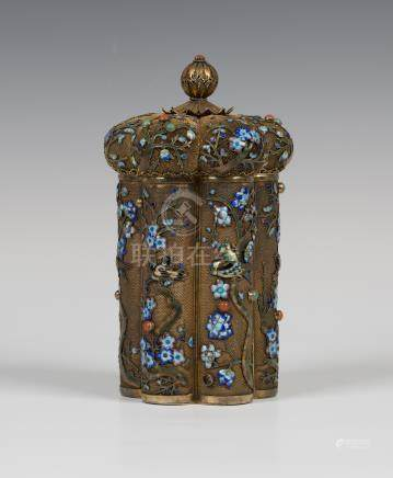 A Chinese, enamelled and stone embellished silver gilt jar and cover, 20th century, of hexalobed