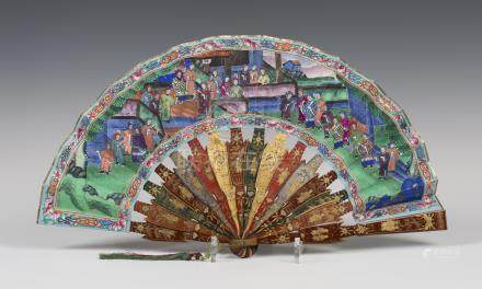 A Chinese Canton export lacquer folding fan, mid-19th century, the vari-coloured pair of guards