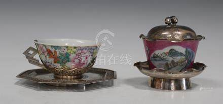 A Chinese silver and famille rose enamelled porcelain tea bowl, cover and stand, mark of Qianlong