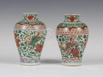 A near pair of Chinese famille verte porcelain vases, Transitional period (mid-17th century), each