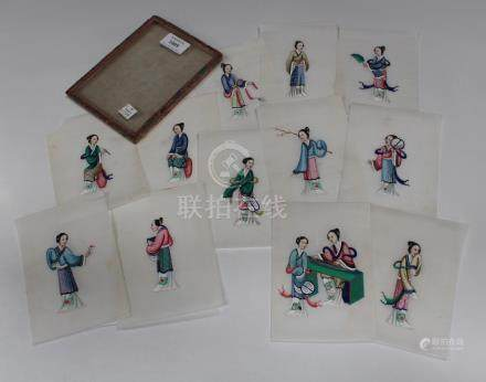 A set of twelve Chinese Canton export watercolours on rice paper, mid/late 19th century, depicting