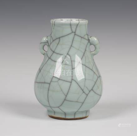 A Chinese Guan-type crackle glazed celadon porcelain vase, probably 20th century, of hu form, the