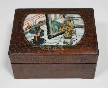 A Chinese inlaid hardwood rectangular box and cover, late Qing dynasty, the cover inset with a