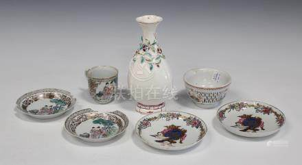 A Chinese export soft paste porcelain vase, Qianlong period, the pear form body applied with flowers