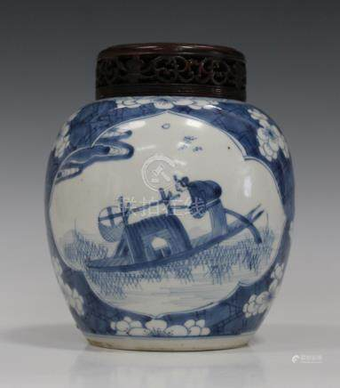 A Chinese blue and white porcelain ginger jar, Kangxi period, of ovoid form, painted with opposing