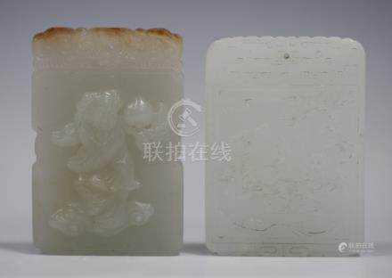 A Chinese pale celadon jade tablet pendant, one side carved in relief with a boy holding a peach