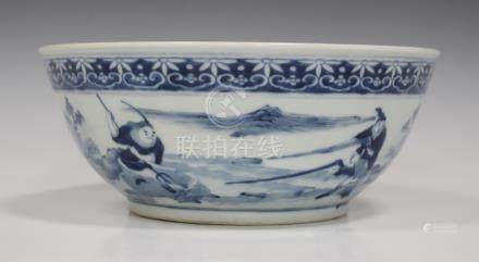 A Chinese blue and white porcelain bowl, mark of Xuande but late Qing dynasty, of steep sided