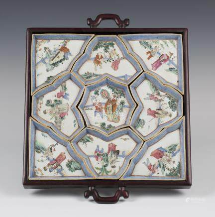 A Chinese famille rose enamelled porcelain supper set, early 20th century, comprising nine dishes,