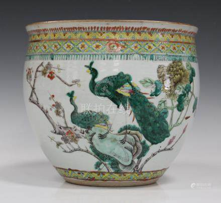 A Chinese famille verte porcelain jardinière, late 19th century, the exterior painted with