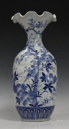 A Japanese blue and white porcelain vase, Meiji period, the body painted with birds, flowers and