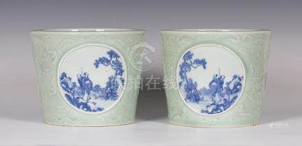 A pair of Chinese blue and white celadon ground porcelain jardinières, mark of Qianlong but 20th