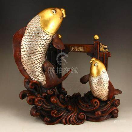 Vintage Chinese Gilt Gold Red Copper Statue - Fish