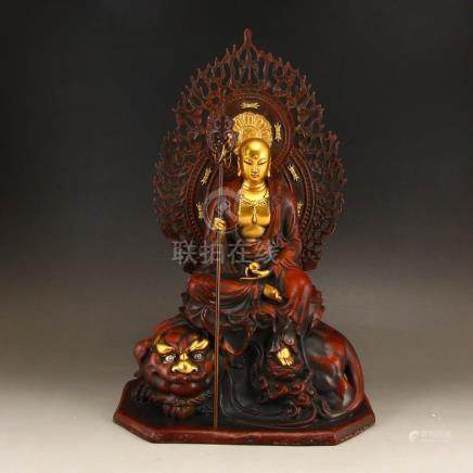 Gilt Gold Red Copper Ksitigarbha Bodhisattva Statue