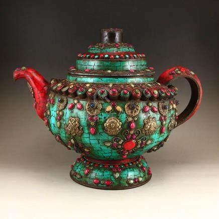 Tibetan Buddhism Bronze Inlay Turquoise & Gems Teapot