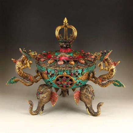 Tibetan Buddhism Gilt Gold Bronze Incense Burner