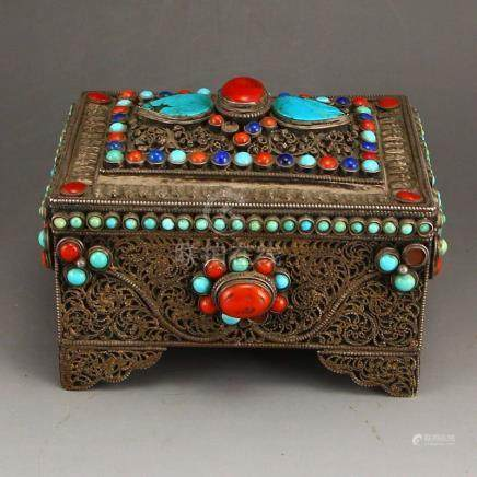 Vintage Tibetan Silver Inlay Natural Gems Jewelry Box