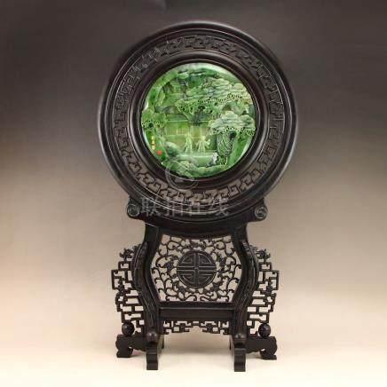 Zitan Wood Inlay Natural Green Hetian Jade Screen