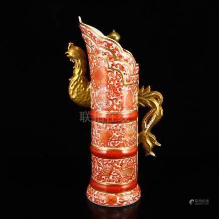 Chinese Gilt Gold Iron Red Glaze Porcelain Domou Pot