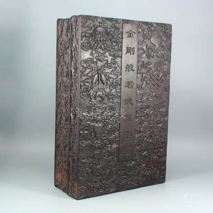 Chinese Zitan Wood Low Relief Buddhism Sutra Box