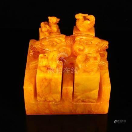 Set Superb Chinese Shoushan Stone Tianhuang Stone Seals