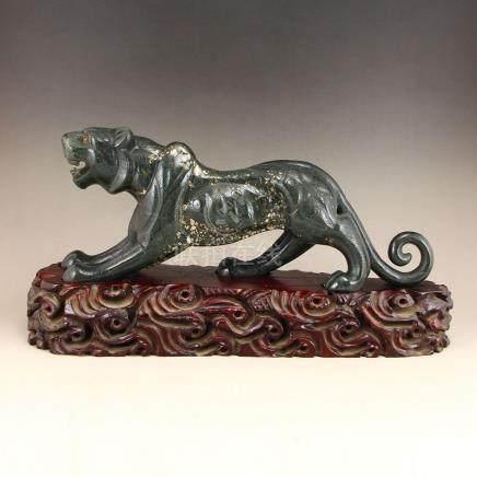 Chinese Deep Green Hetian Jade Statue - Fortune Leopard