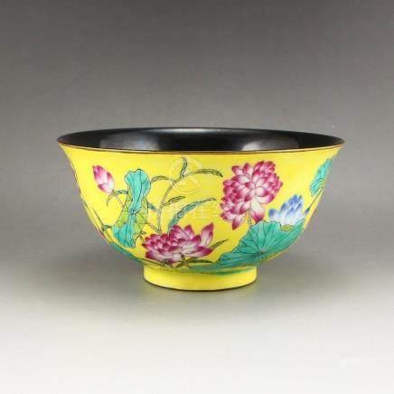 Gilt Edges Yellow Ground Famille Rose Porcelain Bowl