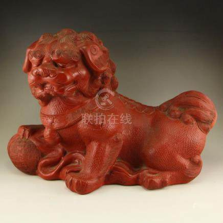 Vintage Chinese Red Lacquerware Lion & Ball Statue
