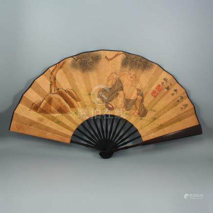Chinese Watercolour On Xuan Paper Painting Fan