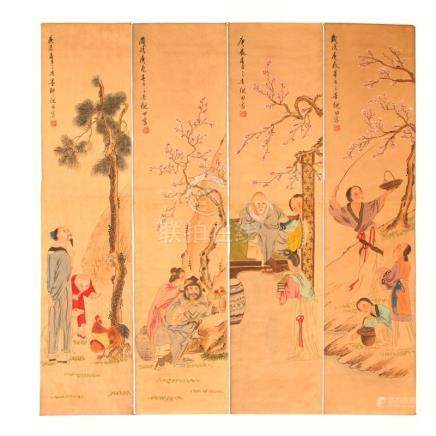 A Set Watercolour on Xuan Paper Figures Painting