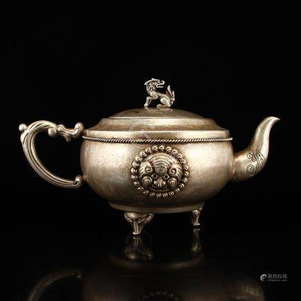 Vintage Chinese Silver Teapot w Kylin