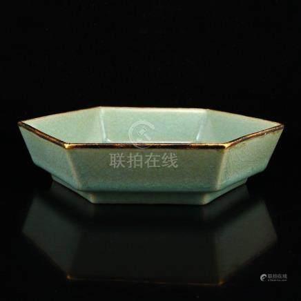 Gilt Gold Sky Blue Glaze Ru Kiln Porcelain Brush Washer