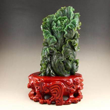 Chinese Green Hetian Jade Statue - Fortune Cabbage