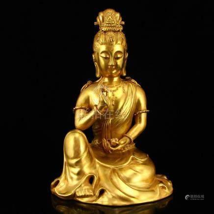 Chinese Gilt Gold Porcelain Bodhisattva Statue