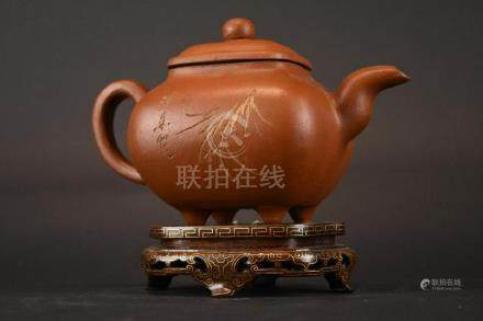 Chinese Pottery Tea Pot & Stand