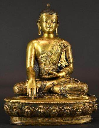 Chinese Seated Gilt Bronze Buddha on Lotus Base