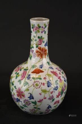 Chinese Famille rose Porcelain Bottle Shape Vase
