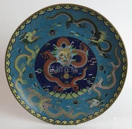 Large Cloisonné Chinese plate of a five toed dragon chasing a flaming pearl est: £60-£80