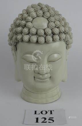 A Chinese blanc de chine head of Buddha, 26 cm tall,