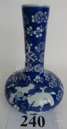 A Chinese period-style blue and white porcelain bottle vase, probably 20th century,