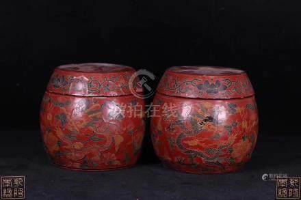 PAIR OF WOOD CARVED LACQUER JARS