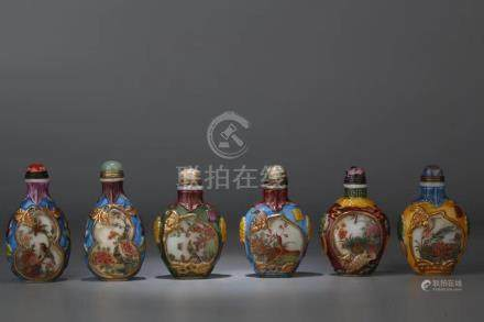 SIX PIECES GLASS SNUFF BOTTLES WITH MARK