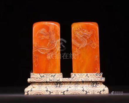 PAIR OF TIANHUANG SOAPSTONE SEALS